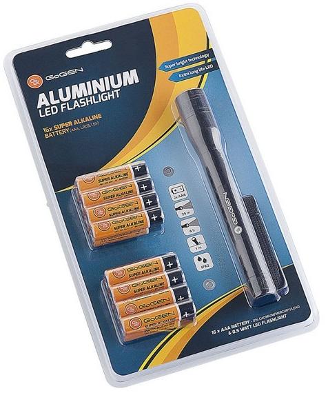 Gogen baterie Alkaline AAA 16ks + svítilna