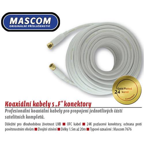 Mascom 7676-030W - koaxiální kabel, F-F konektory, OFC, 3 m