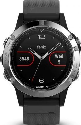 Garmin Fénix 5 stříbrná s černým řemínkem