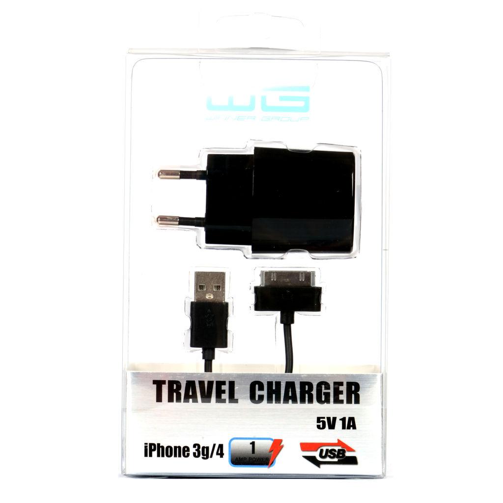 Winner síťová nabíječka (1A) + datový kabel pro iPhone 4 (černá)