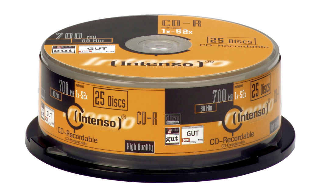 Intenso CD-R, 1001124, 25-pack, 700, 52x, cake box