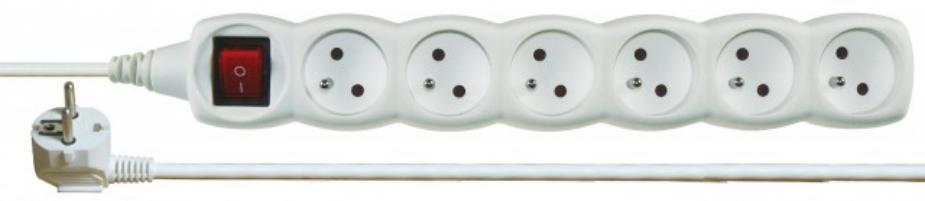 Emos P1612 - Prodlužovací kabel s vypínačem, 6 zásuvek, 2m (bílý)