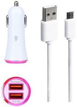 Plus CS501 2x USB 2.4A + microUSB kabel růžová