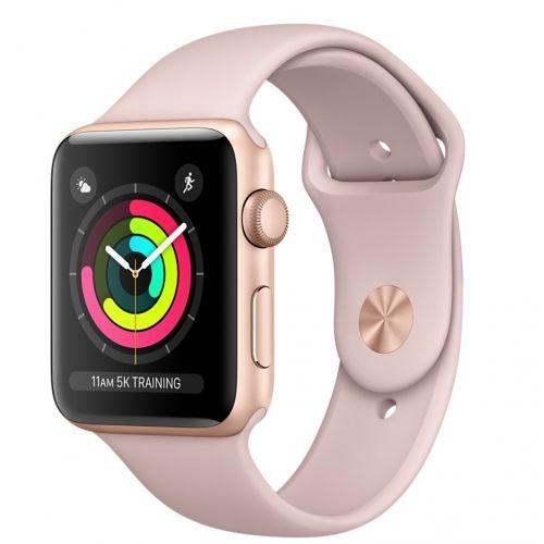 Apple Watch Series 3 42mm zlatý hliník/pískově růžový sportovní řemínek