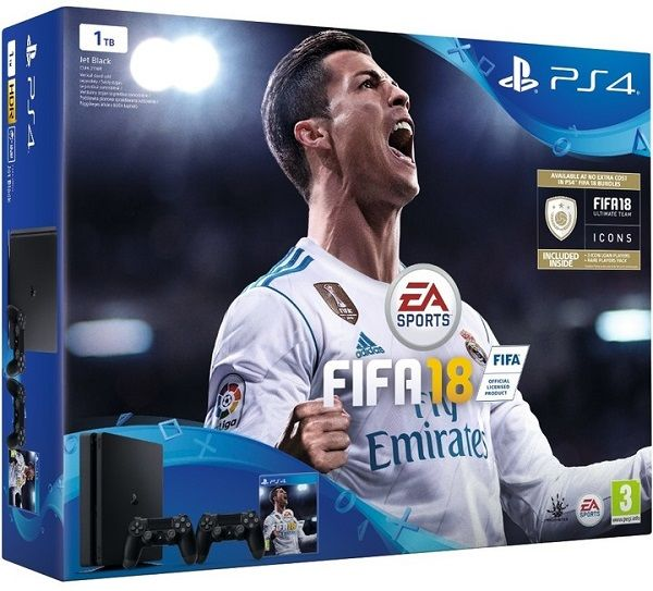 Sony PlayStation 4 Slim 1TB černý + DualShock 4 + FIFA18 + PS Plus 14 dní