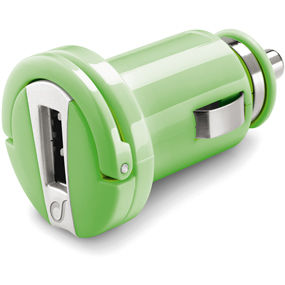 CellularLine mini autonabíječka s USB výstupem, 1A (zelená)