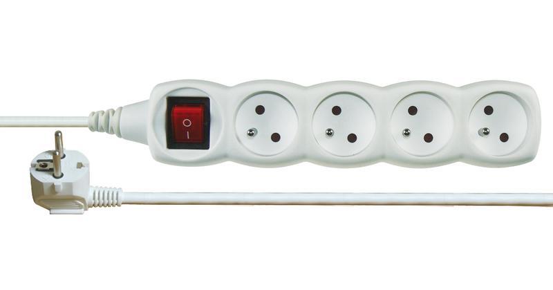 Emos P1415 - Prodlužovací kabel s vypínačem, 4 zásuvky, 5m (bílý)