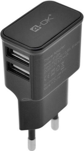 4-OK 2xUSB 230V 1m microUSB černá, nabíječka
