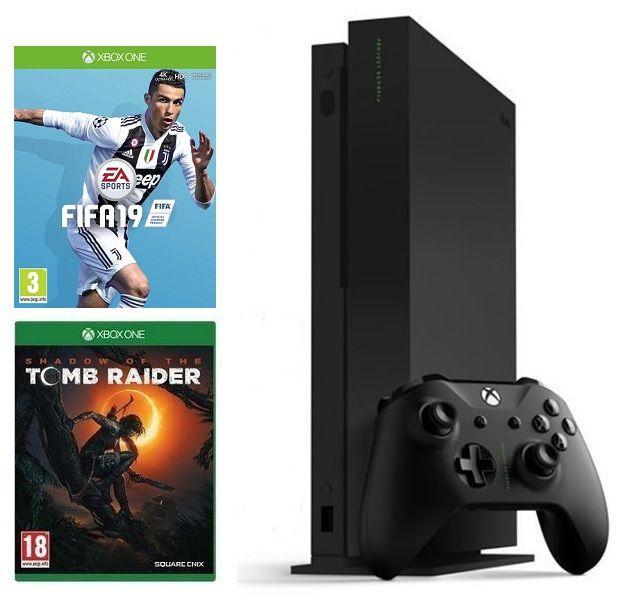 Microsoft Xbox One X 1TB + Shadow of The Tomb Raider + FIFA 19