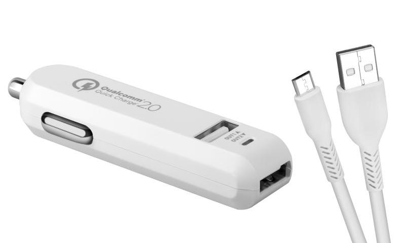 Avacom CarMax 2xUSB QC2 autonabíječka, bílá + microUSB kabel 1m