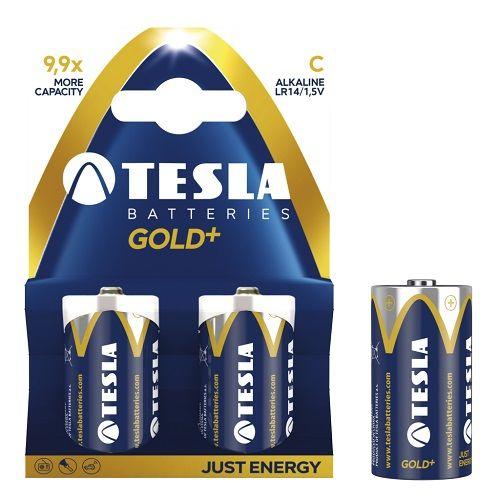 TESLA GOLD+ LR14 2ks, alkalická baterie