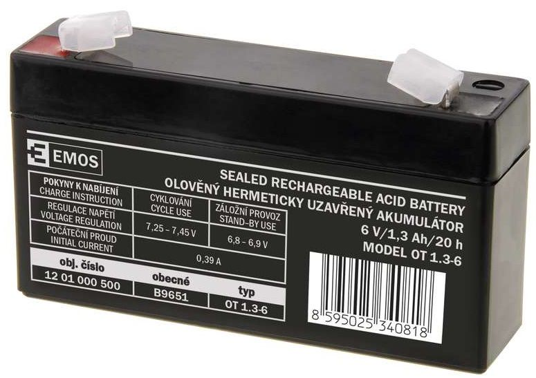 EMOS B9651 - bezúdržbový olověný akumulátor 6V 1,3Ah