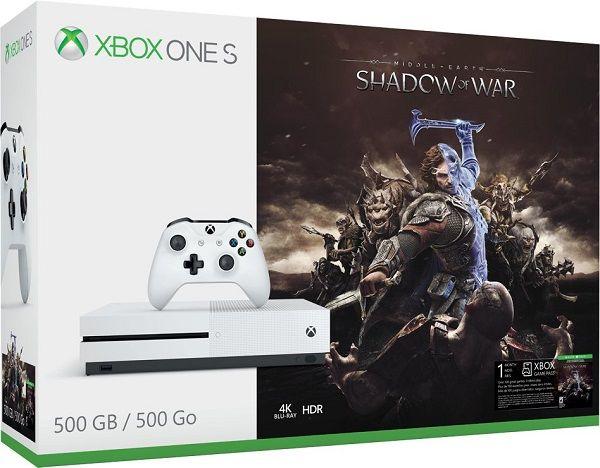 Microsoft Xbox One S 500 GB bílý + Middle-Earth: Shadow of War