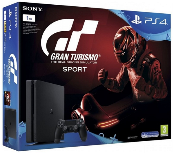PlayStation 4 Slim, 1TB, černá + Gran Turismo Sport