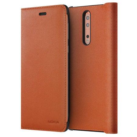 Nokia Leather Flip Case pro Nokia 8, hnědá