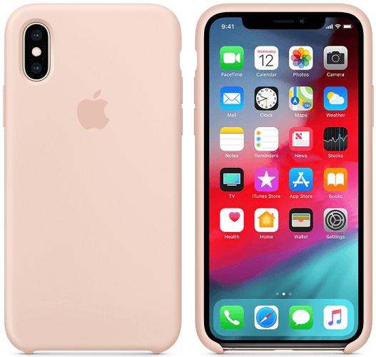 Apple silikonový kryt pro iPhone XS Max, pískově růžový