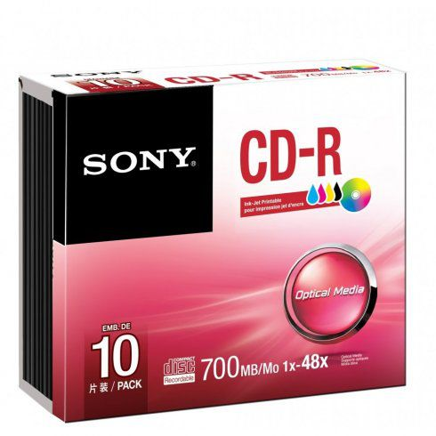 Sony CD-R 700MB 48x, inkoustový tisk, 10ks