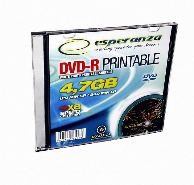Esperanza DVD-R 4,7GB X16 Printable - Slim case, 1 ks