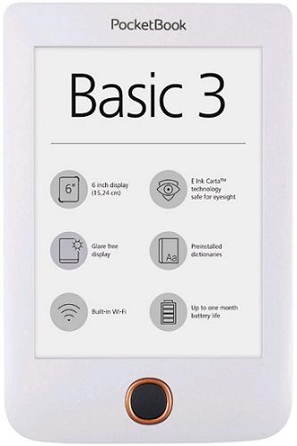 PocketBook 614+ Basic 3 bílá + dárek PocketBook DOTS černo-šedé zdarma