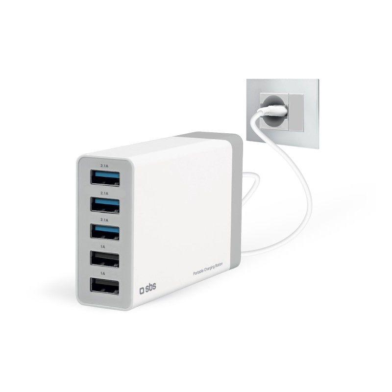 SBS cestovní nabíječka 5 x USB bílá