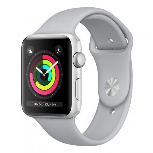 Apple Watch Series 3 38mm štříbrný hliník/mlhově šedý sportovní řemínek