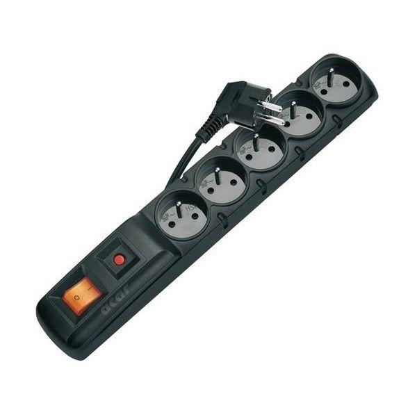 Emos P53871 - Přepěťová ochrana, 5 zásuvek, 1,5m (černá)