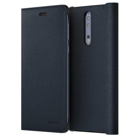 Nokia Leather Flip Case pro Nokia 8, modré