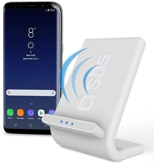 SBS Qi Fast Charge bezdrátový nabíjecí stojan, bílý