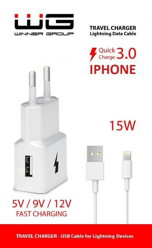 Winner nabíječka + datový kabel Lightning pro iPhone 5/6 (bílá)