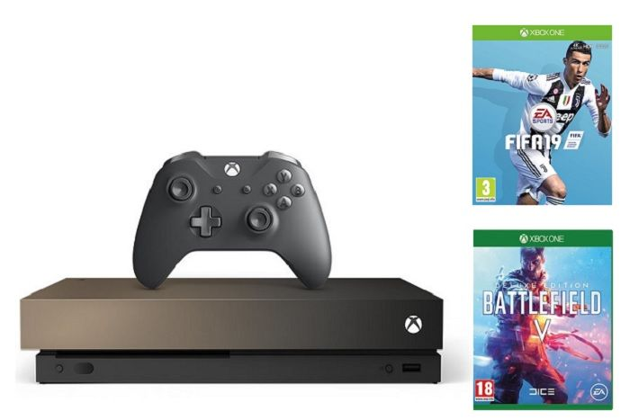 Microsoft Xbox One X 1TB Gold Rush Special Edition + Battlefield V + FIFA 19