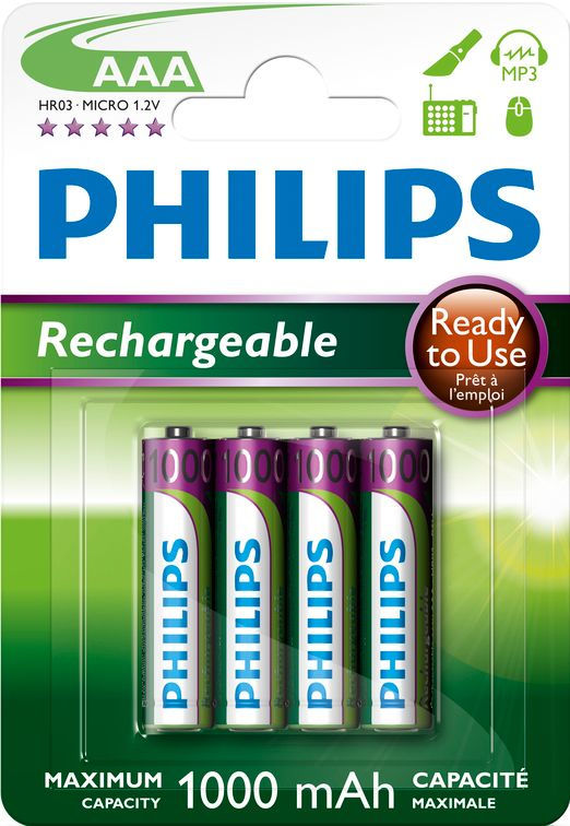 Philips MultiLife 1000mAh AAA (HR03), 4ks