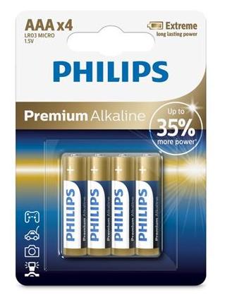 PHILIPS Premium Alkaline AAA (LR03), 4ks