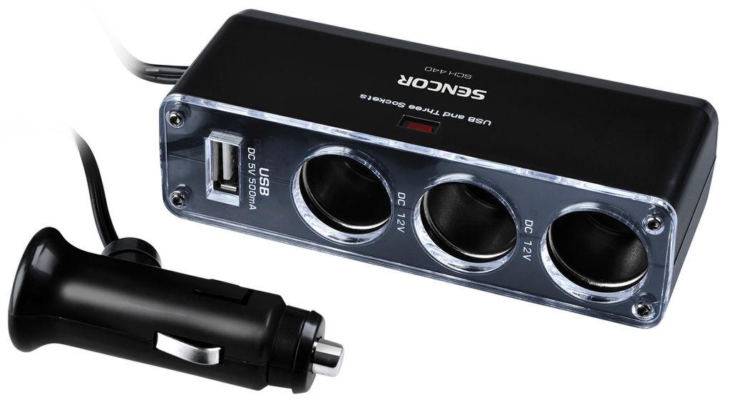 Sencor SCH 440 - 3x rozbočovač 12 V + USB 500 mA