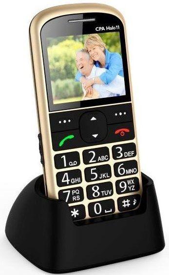 Mobilní telefon CPA Halo 11 zlatý s nabíjecím stojánkem