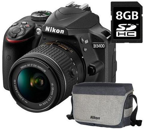 Nikon D3400 18-55 f/3,5-5,6G VR KIT + dárek Camlink CL-TP2500B (černý) zdarma