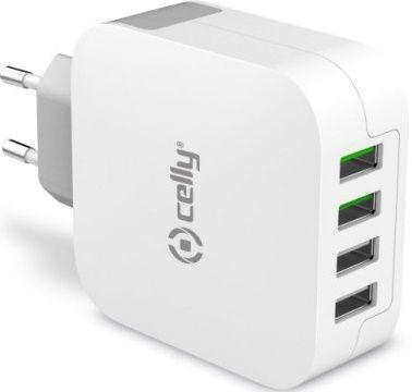 Celly Turbo 4 x USB nabíječka, bílá