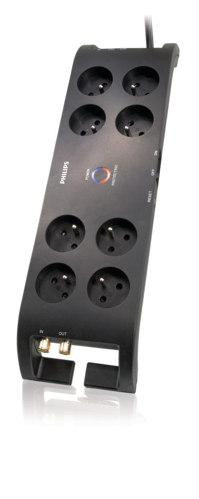 Philips SPN5085B - 8 zásuvek, Tel, DSL, FAX, RJ11, Ant., 3m