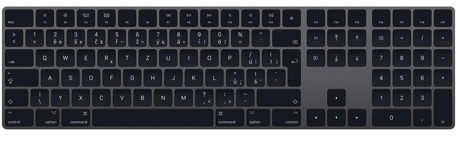 Apple Magic Keyboard s číselnou klávesnicí CZ vesmírně šedá