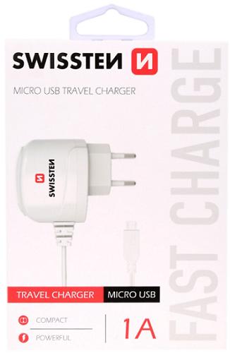 Swissten 1A microUSB nabíječka, bílá