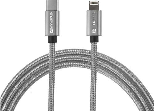 4smarts Fast Charge USB-C/Lightning datový kabel 1m, šedý