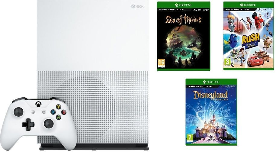 Microsoft Xbox One S 1TB Sea of Thieves + Disneyland Adventures + Rush: A Disney Pixar Adventure