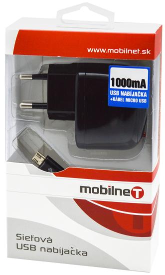 Mobilnet Micro USB síťová nabíječka 1A, černá