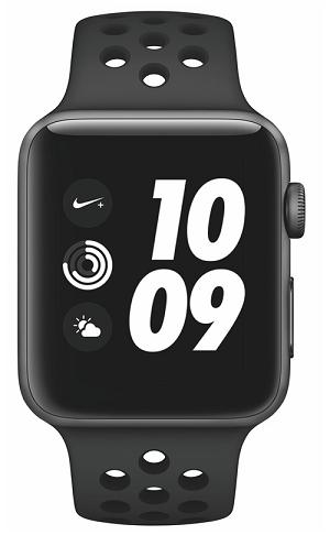 Apple Watch Series 3 Nike+ 42mm, vesmírně šedý hliník a černý/antracitový sportovní řemínek Nike