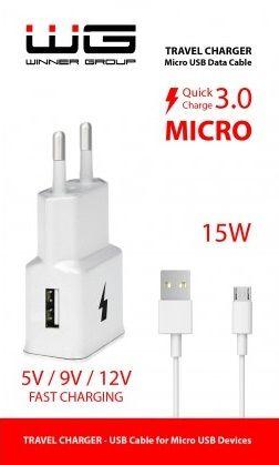 Winner síťová nabíječka Fast 1xUSB + kabel Micro USB, bílá
