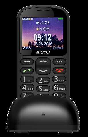 Aligator A880 + nabíjecí stojánek, A880BK černý