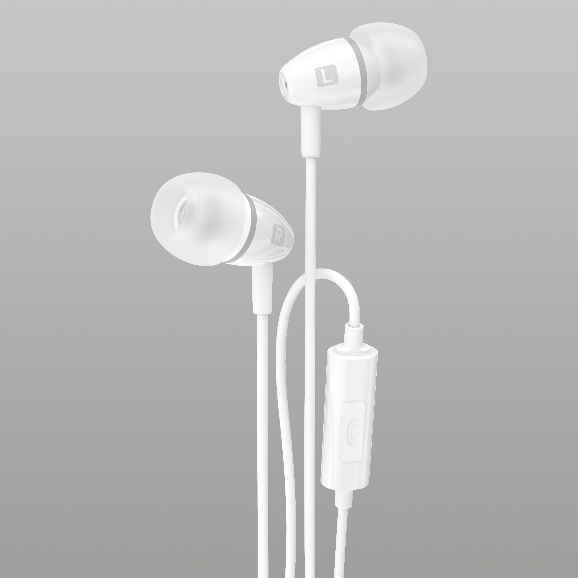Strudo stereo handsfree s 3,5 mm konektorem, šedo-bílá