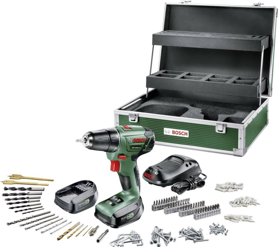 Bosch PSR 1440 Li-2 2 AKU + 241 ks Toolbox, 2x 14,4V/1,5AH