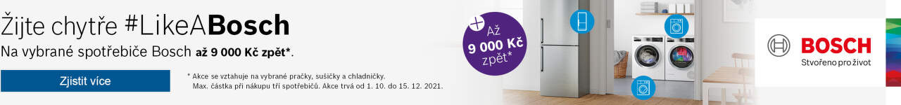 Cashback až 9 000 Kč na velké spotřebiče Bosch