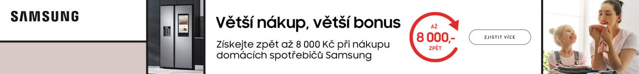 Cashback až 8 000 Kč na domácí spotřebiče Samsung