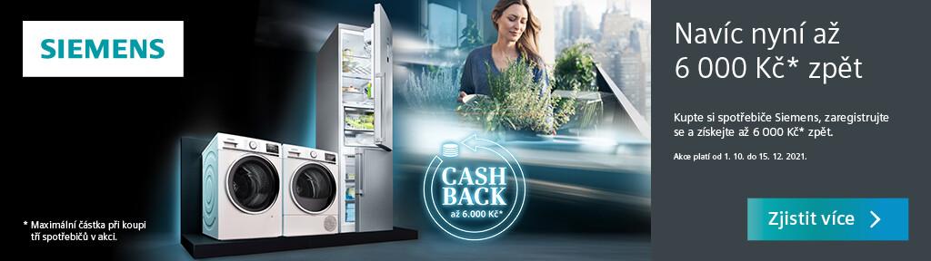 Cashback až 6 000 Kč na vybrané spotřebiče Siemens